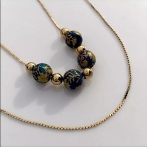 Cloisonne Double Strand Layered Gold Necklace Bead